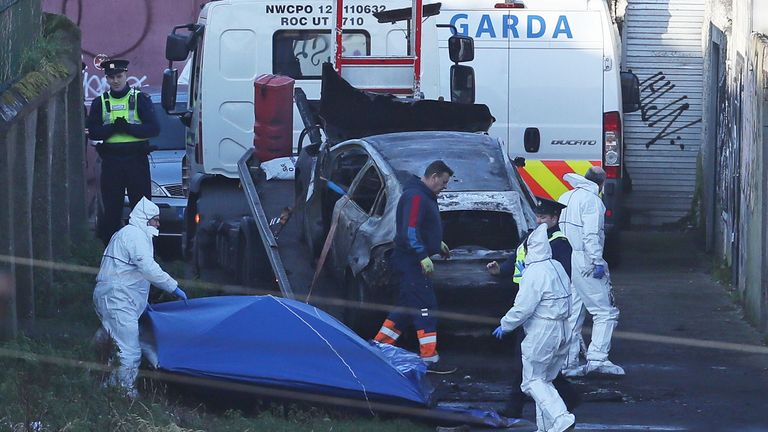 Human remains were found in a burnt-out car in Drumcondra, Dublin