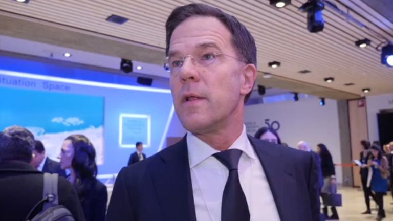 Dutch prime minister Mark Rutte spoke to Sky News at the World Economic Forum in Davos