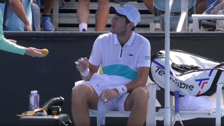 Elliot Benchetrit, 21, asked the ball girl to peel a banana for him. Pic: @tennisportalen