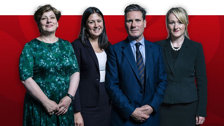 (from left to right) Labour leadership candidates Emily Thornberry, Lisa Nandy, Sir Keir Starmer and Rebecca Long-Bailey