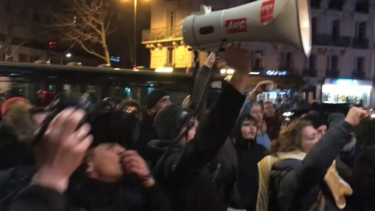 Protesters chanted outside the theatre