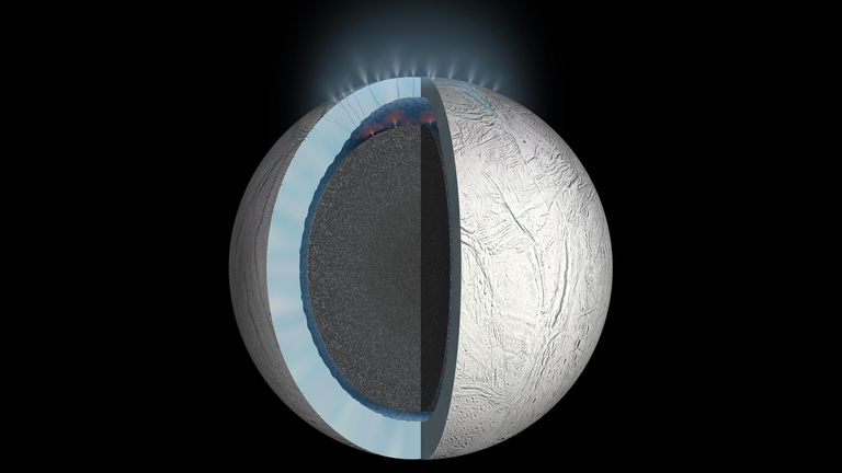 Liquid water beneath the ice of Enceladus could harbour alien life. Pic: NASA