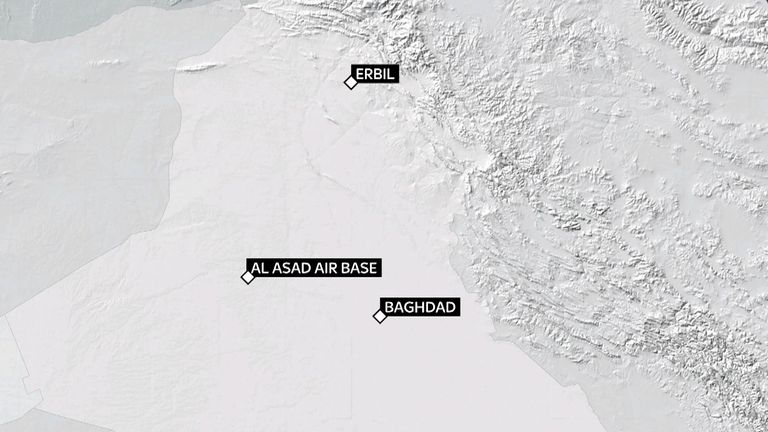 Erbil and Al Asad air bases were targeted