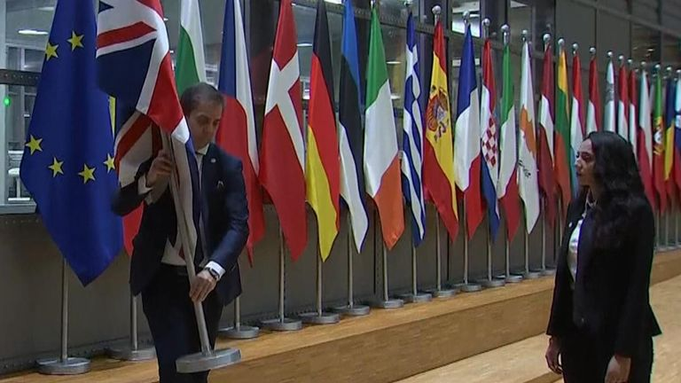 Union flag removed from EU council building ahead of Brexit