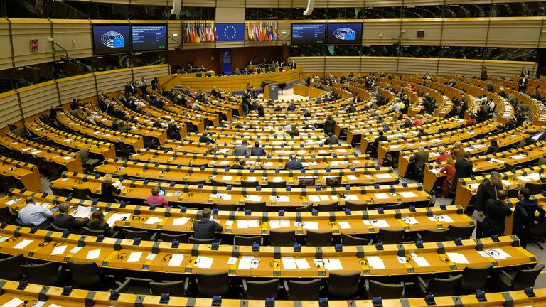 The European Parliament meets for a session in which it is to approve the Brexit deal