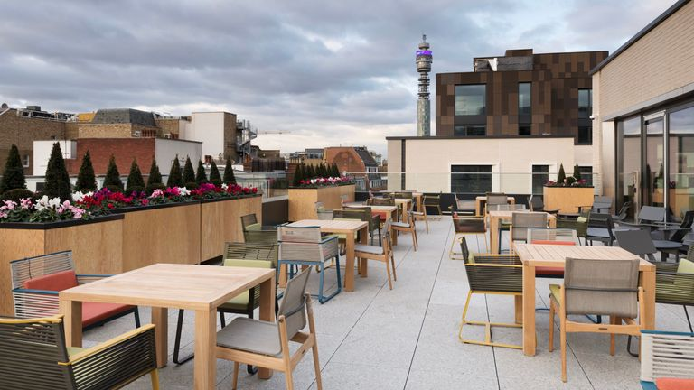 Facebook's premises in London's Rathbone Square includes a roof-top meeting and dining area. Pic: Facebook