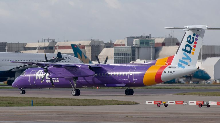 File photo dated 4/3/2019 of a flybe Bombardier Dash 8 Q400 plane at Heathrow Airport.