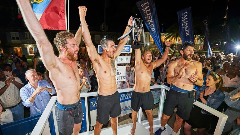 (L to R) Hugh Gillum, Max Breet, Ollie Palmer, Tom Foley were the first team to reach Antigua after 32 days. Pic: Talisker Whisky Atlantic Challenge 2020