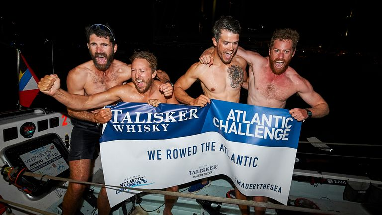 (L -R) Tom Foley, Ollie Palmer, Max Breet, Hugh Gillum battled terrible weather to get across the Atlantic. Pic: Talisker Whisky Atlantic Challenge 2020