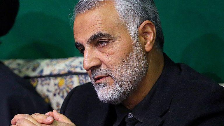 Major General Qassem Soleimani (R) with Ayatollah Ali Khamenei (L) in 2015