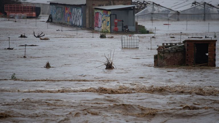 Severe flooding inundated parts of Girona