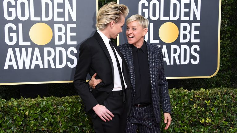 Ellen DeGeneres and Portia de Rossi at the Golden Globes 2020