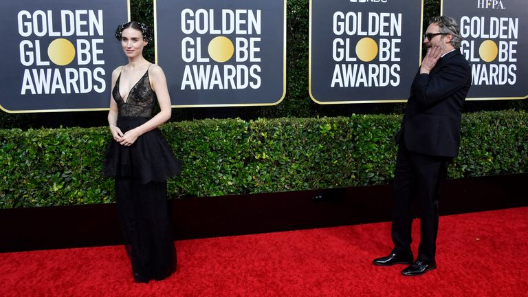 Joaquin Phoenix and Rooney Mara at the Golden Globes 2020
