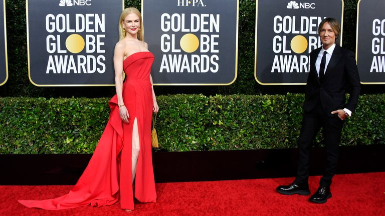 Nicole Kidman and Keith Urban at the Golden Globes 2020
