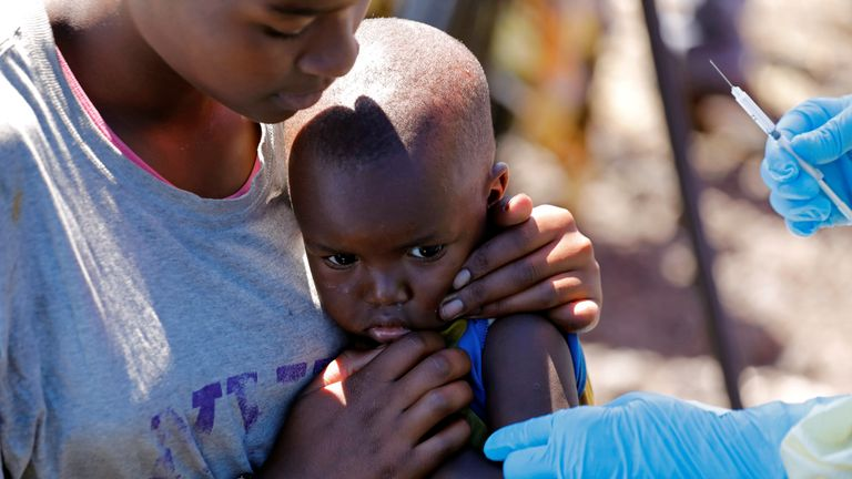 Child receives immunisation in Goma, Democratic Republic of Congo