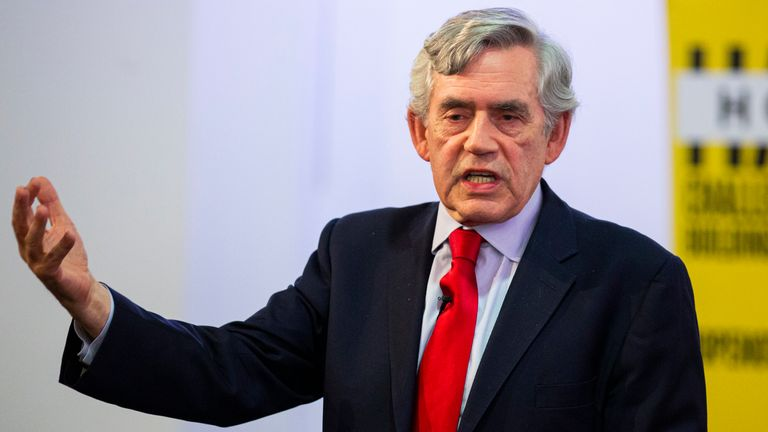 "GLASGOW, SCOTLAND - SEPTEMBER 09: Former Prime Minister Gordon Brown speaks at a ""No to No-Deal"" rally at Gorbals Parish Church on September 9, 2019 in Glasgow, Scotland. (Photo by Duncan McGlynn/Getty Images)"