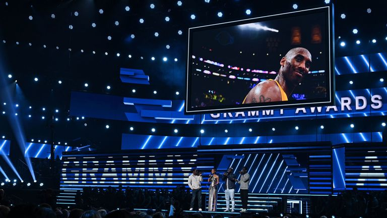 The Grammy Awards opened with a tribute to Bryant
