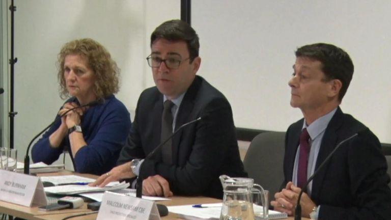 (L-R) Baroness Beverley Hughes, Andy Burnham, Malcolm Newsam