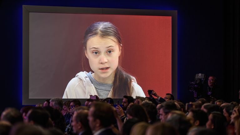 Swedish climate activist Greta Thunberg attends a session during the World Economic Forum (WEF)