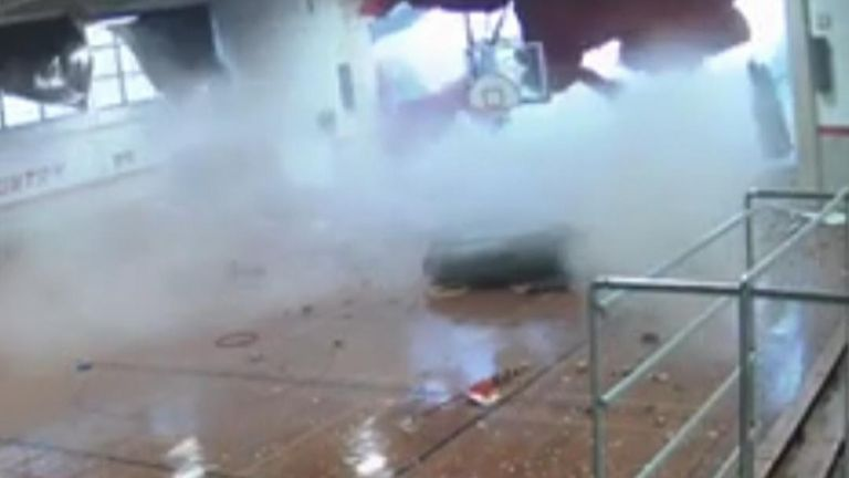 School gymnasium is destroyed by storm smashing through window and wall