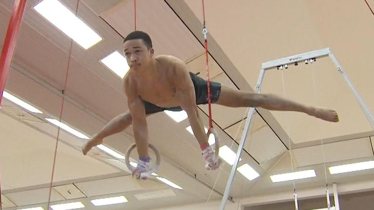 Olympic gymnast Joe Fraser on the rings.