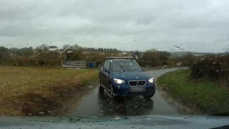 A car driven on the wrong side of the road near RAF Croughton