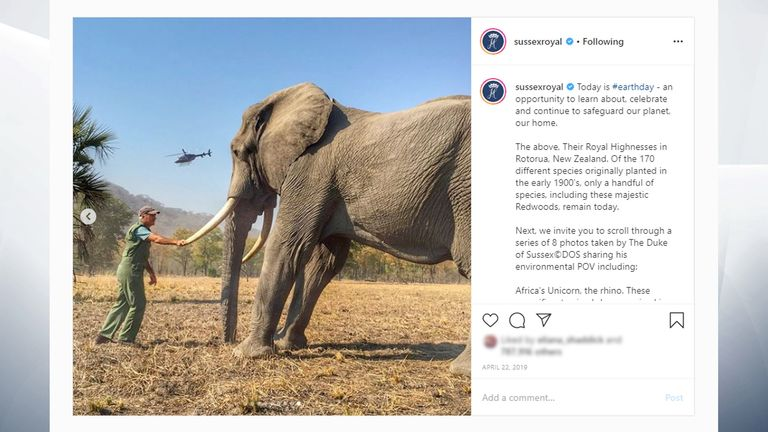 Prince Harry said the picture was cropped to fit Instagram's square frame style