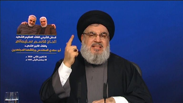 Hassan Nasrallah spoke to the crowd via videolink