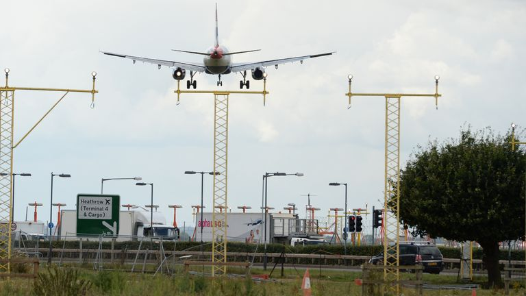 A plane lands at Heathrow (file pic)