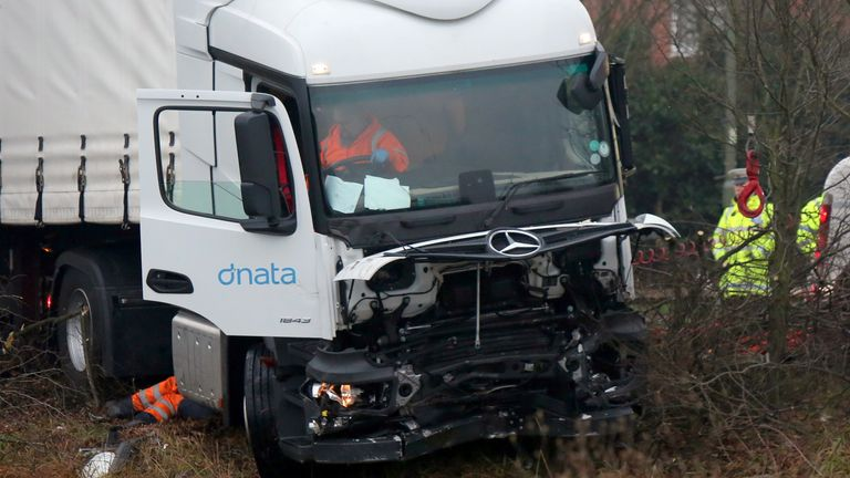 The lorry was being recovered on Wednesday morning