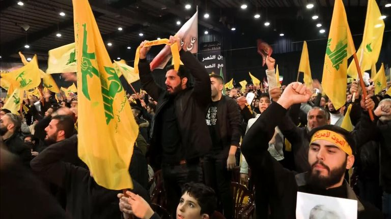 Thousands attended to hear the Hezbollah leader promise revenge