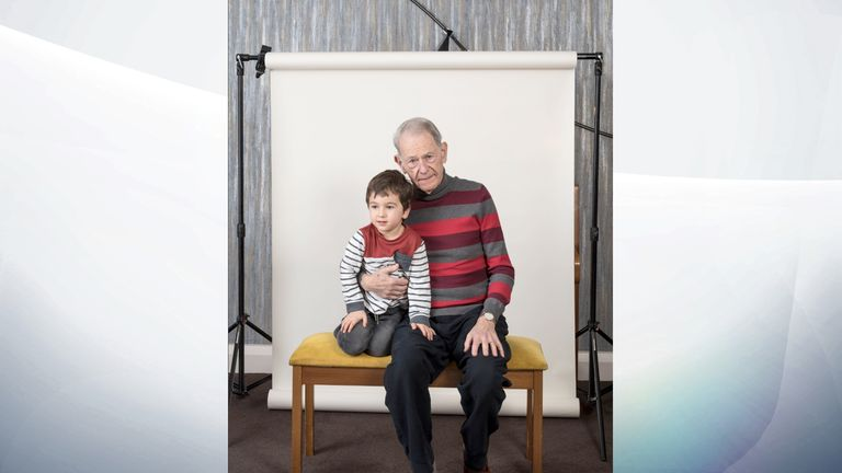 John Hajdu MBE, aged 82 who survived the Budapest Ghetto, pictured with his grandson Zac, aged 4. PA Photo. Issue date: Sunday January 26, 2020. See PA story MEMORIAL Holocaust. Photo credit should read: Jillian Edelstein/PA Wire NOTE TO EDITORS: This handout photo may only be used in for editorial reporting purposes for the contemporaneous illustration of events, things or the people in the image or facts mentioned in the caption.