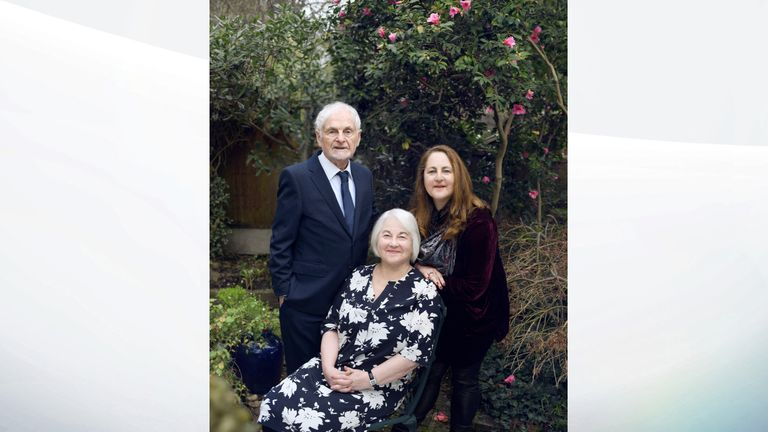 Joan Salter MBE aged 79, who fled the Nazis as a young child, pictured with her husband Martin and her daughter Shelley. PA Photo. Issue date: Sunday January 26, 2020. See PA story MEMORIAL Holocaust. Photo credit should read: Frederic Aranda/PA Wire NOTE TO EDITORS: This handout photo may only be used in for editorial reporting purposes for the contemporaneous illustration of events, things or the people in the image or facts mentioned in the caption.