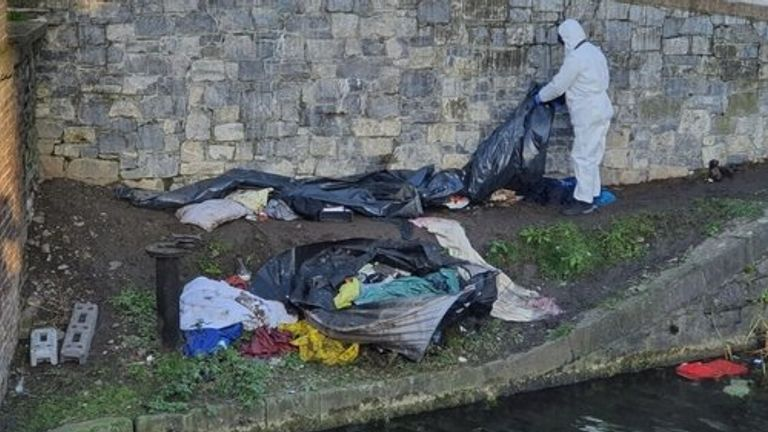 The man was sleeping in a tent on the banks of the Grand Canal. Pic: RTÉ