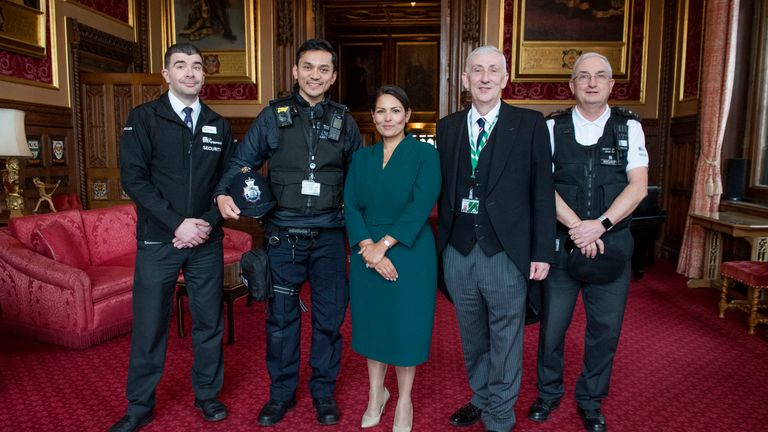 Lindsay Hoyle (second right) and Home Secretary Priti Patel with Parliamentary security staff Ron Dowson and Met Police officer Habibi Syaaf, who rescued a man from the River Thames