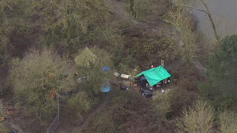 Protesters moved into the forest after bailiffs dismantled their camp