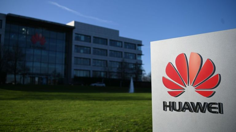 A photograph shows the logo of Chinese company Huawei at their main UK offices in Reading, west of London, on January 28, 2020. - Prime Minister Boris Johnson is expected to announce a strategic decision on January 28, on the participation of the controversial Chinese company Huawei in the UK's 5G network, at the risk of angering his US allies a few days before Brexit. (Photo by DANIEL LEAL-OLIVAS / AFP) (Photo by DANIEL LEAL-OLIVAS/AFP via Getty Images)