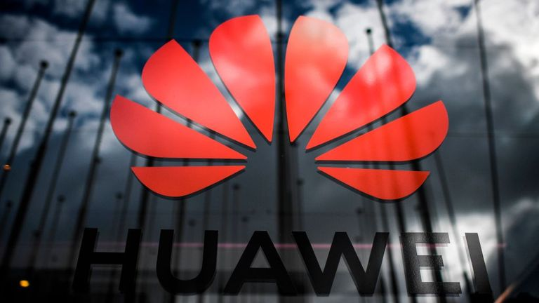 The logo of Chinese telecom giant Huawei is pictured during the Web Summit in Lisbon on November 6, 2019. - Europe's largest tech event Web Summit is held at Parque das Nacoes in Lisbon from November 4 to November 7. (Photo by PATRICIA DE MELO MOREIRA / AFP) (Photo by PATRICIA DE MELO MOREIRA/AFP /AFP via Getty Images)