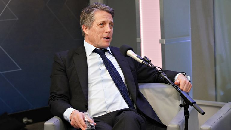 The Gentlemen star Hugh Grant is interviewed by Andy Cohen on his SiriusXM Channel Radio Andy at the SiriusXM Studios on January 13, 2020 in New York City