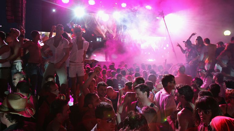 Clubbers dance during the opening matinee at Space nightclub on June 3, 2007 in Spain Ibiza