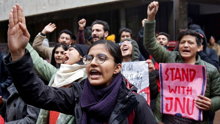 A protest against the attacks on students of New Delhi's Jawaharlal Nehru University