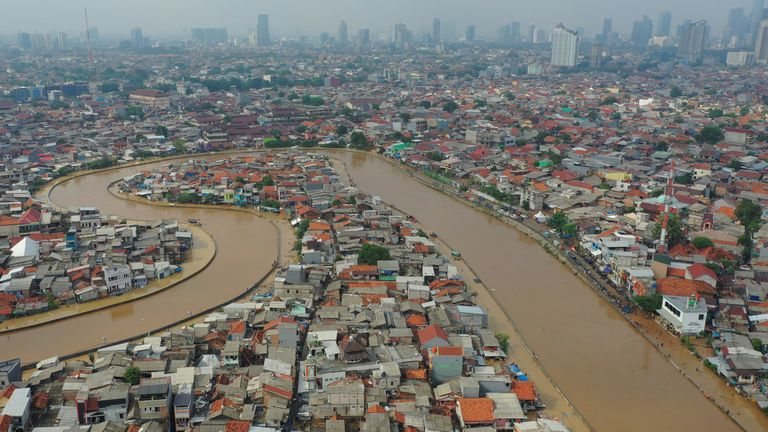 An area affected by floods, next to Ciliwung river in Jakarta, Indonesia. Pic: Antara Foto/Nova Wahudi/Reuters