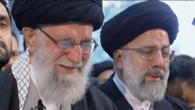 Iran's Supreme Leader Ayatollah Khamenei wept at prayers for the general