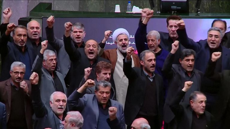 Iranian MPs unanimously chanted 'death to America' in the chamber to protest against Soleimani's assassination by the US