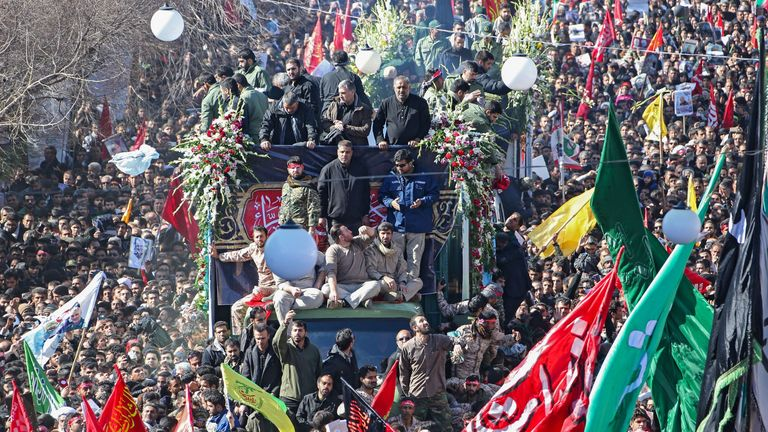 Mourners at the final stage of General Soleimani's funeral in his hometown of Kerman