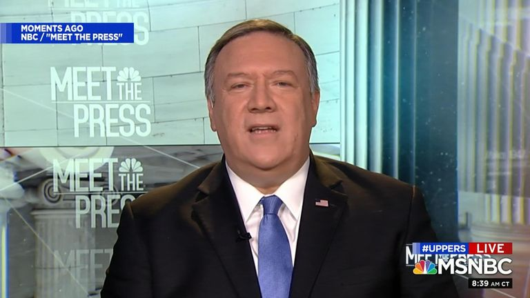 US secretary of state, Mike Pompeo, told NBC's Meet The Press that 'the risk of doing nothing outweighed the risk of taking the action that we took' in relation to the assassination of general Qassem Soleiman