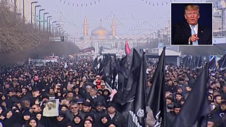 Tens of thousands of mourners flooded the streets of the northeast city of Mashhad near the Imam Reza shrine where Maj Gen Soleimani's body was expected to be taken for public procession