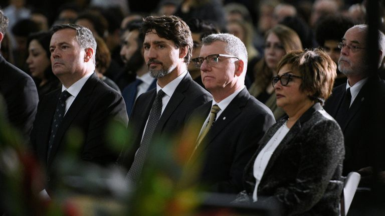 (l-r) Premier of Alberta Jason Kenney, Canada PM Justin Trudeau and David H Turpin, President of the University of Alberta