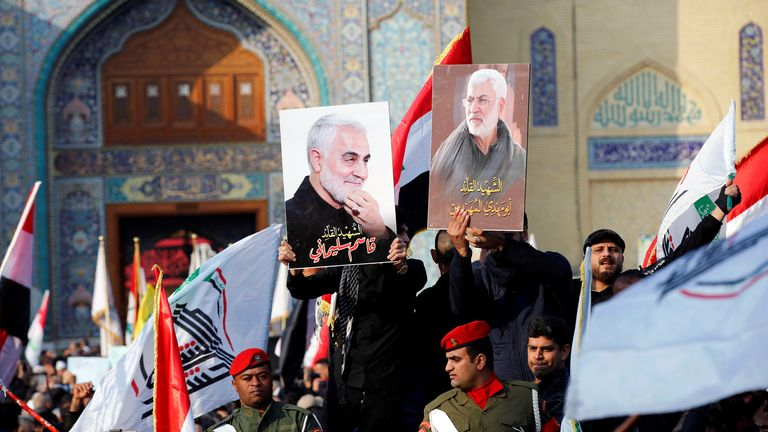 Mourners attend the funeral of the Iranian Major-General Qassem Soleimani, top commander of the elite Quds Force of the Revolutionary Guards, and the Iraqi militia commander Abu Mahdi al-Muhandis, who were killed in an air strike at Baghdad airport