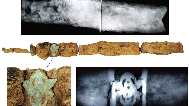 X-ray images of the sword found inside the grave